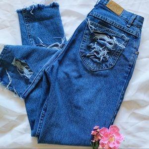 Vtg Lee Destroyed High Waist Mom Jeans Reworked